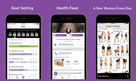 App features goal setting, health feed, a new workout every day