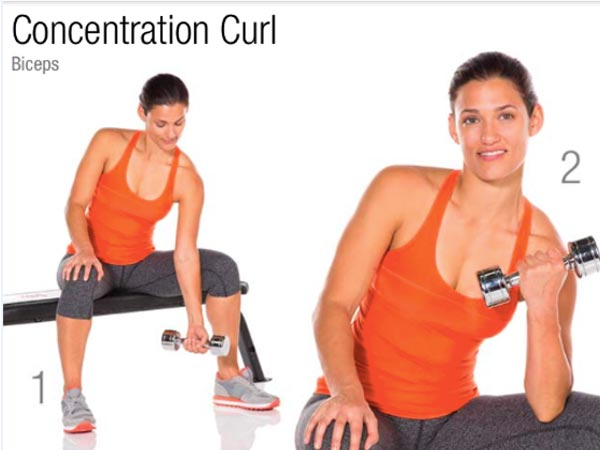 woman doing Concentration Curl