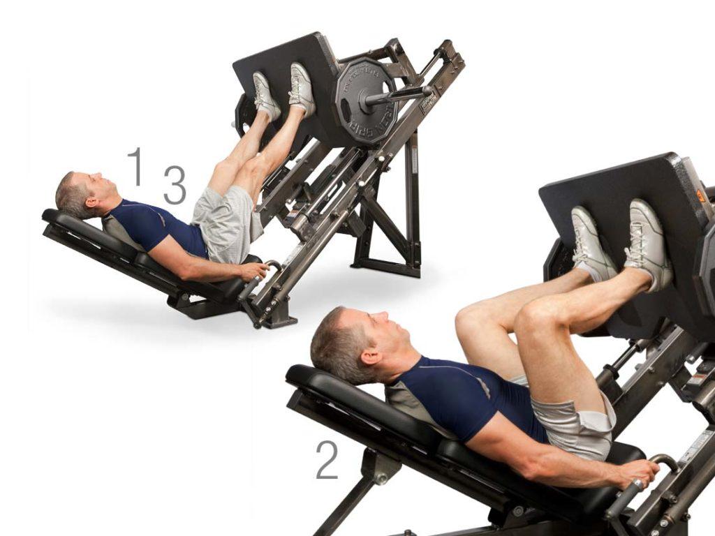 Man using leg press