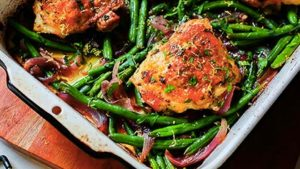One pan chicken with roasted green beans
