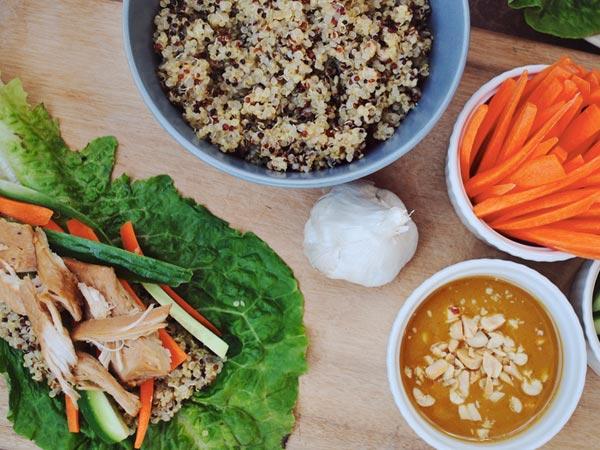 Asian Chicken and Quinoa Lettuce Wraps