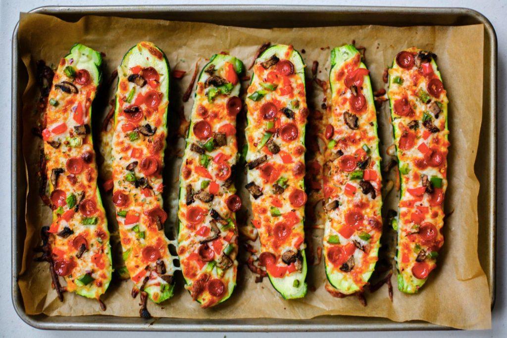 Roasted Pizza Zucchini Boats