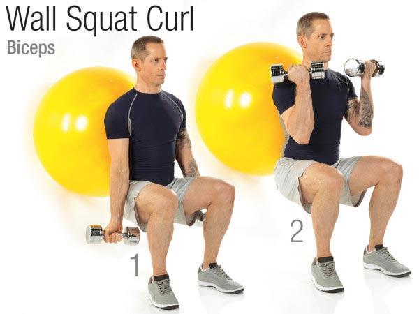 Wall squat curl