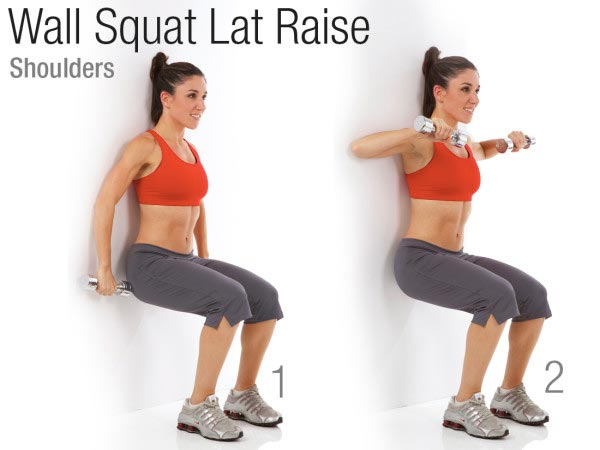 Wall Squat Lat Raise