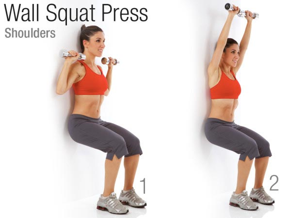 Wall Squat Press